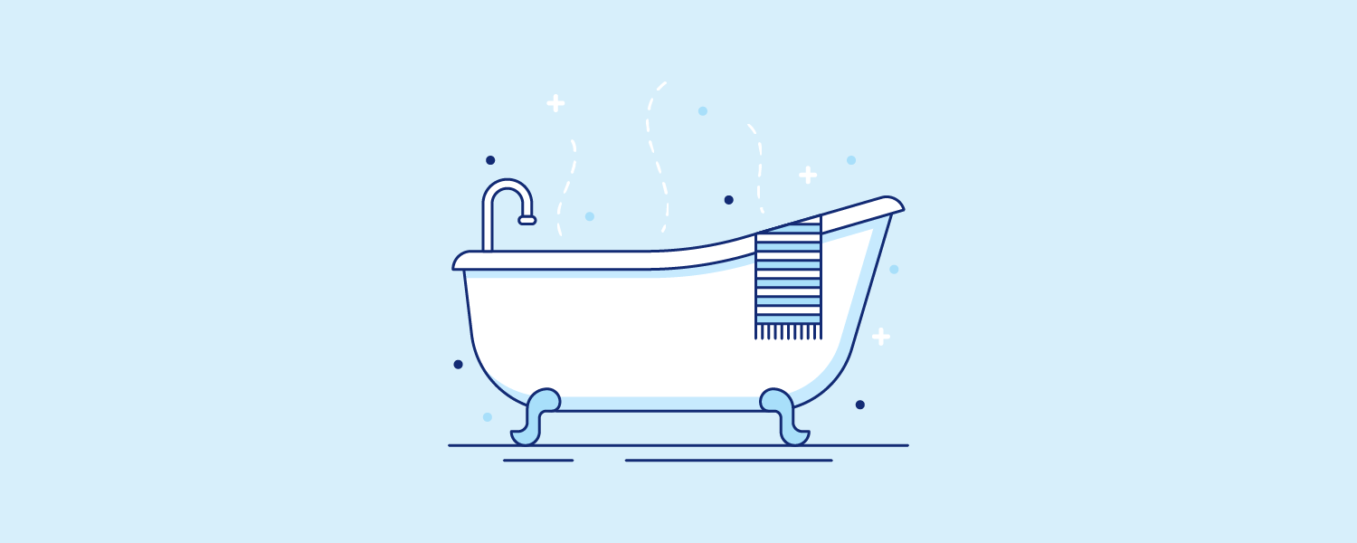 Bathtub with a towel on the ledge. Illustration.