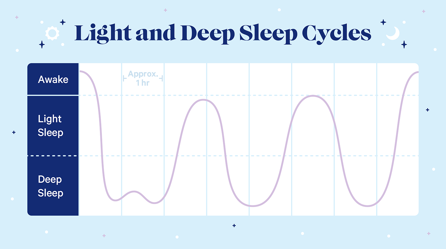 A graph showing light and deep sleep cycles. Over an 8-hour period, the body fluctuates between light sleep and deep sleep every hour or so.