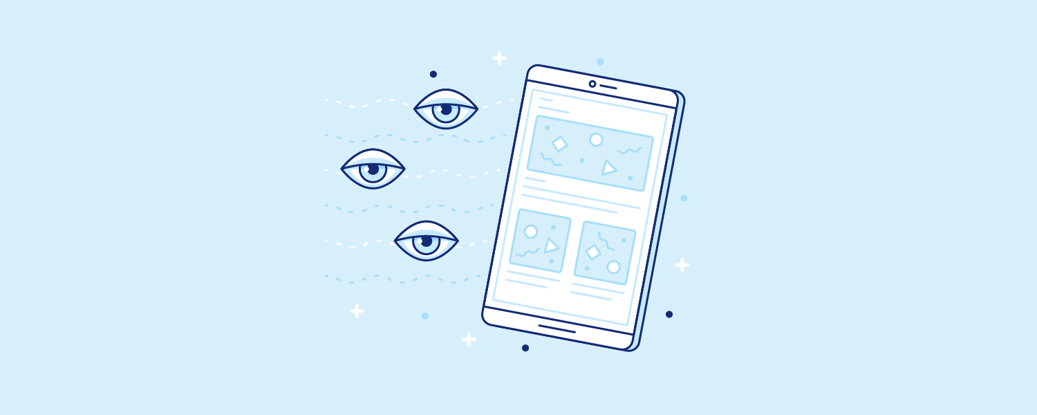 Sleepy eyes floating near a cellphone that glows with blue rays. Illustration