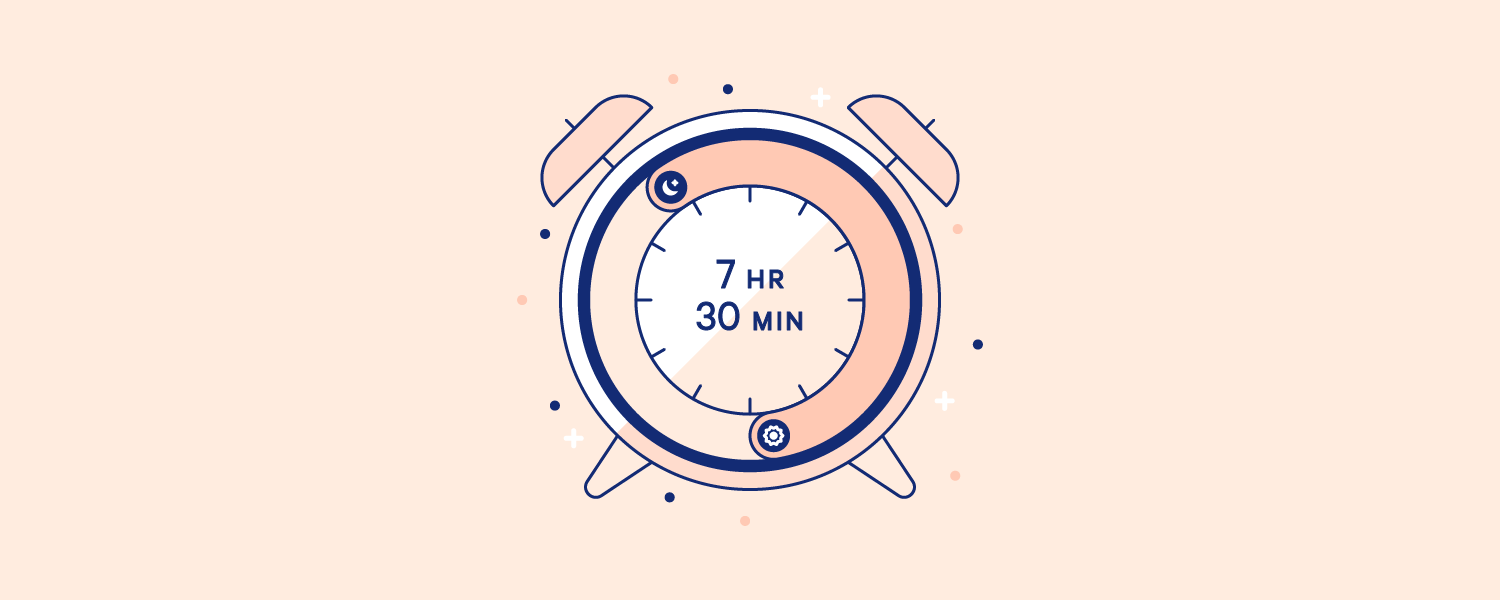 An alarm clock set to go off after 7 hours and 30 minutes. Illustration