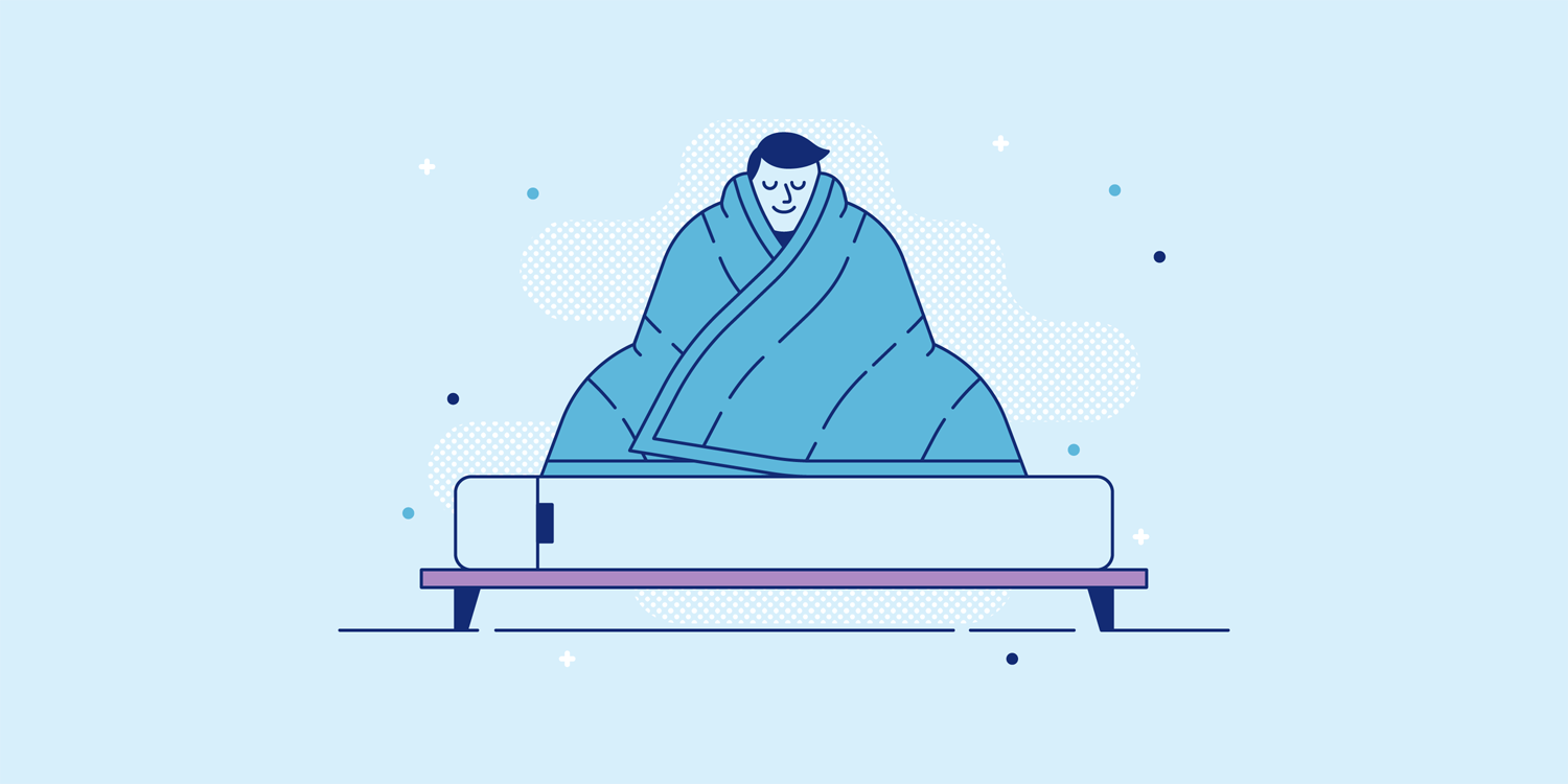 A calm man sits on his Casper mattress wrapped in a Casper weighted blanket. Illustration.