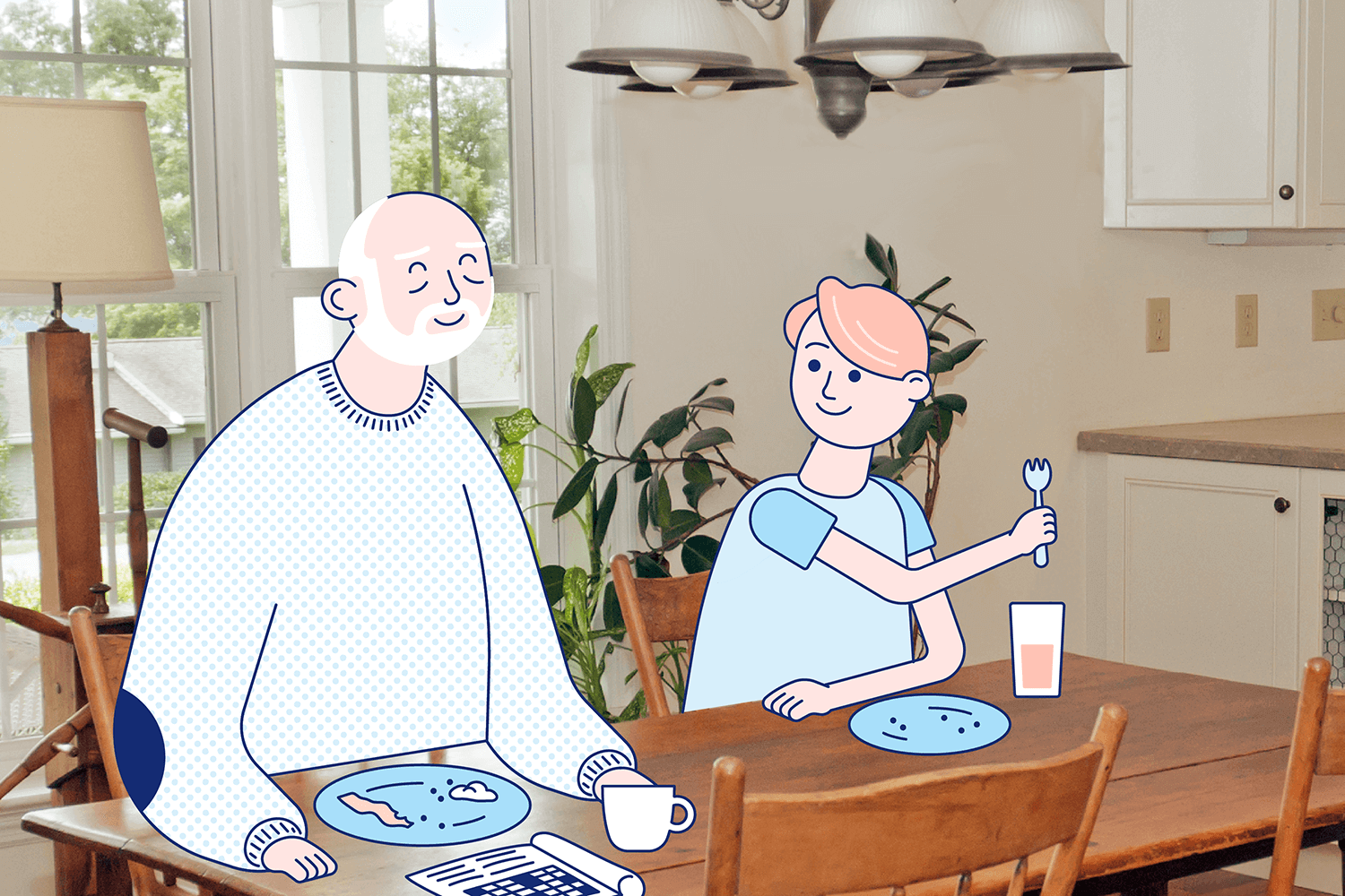 An well-rested older man and his younger son sit at the table for breakfast. Illustration.