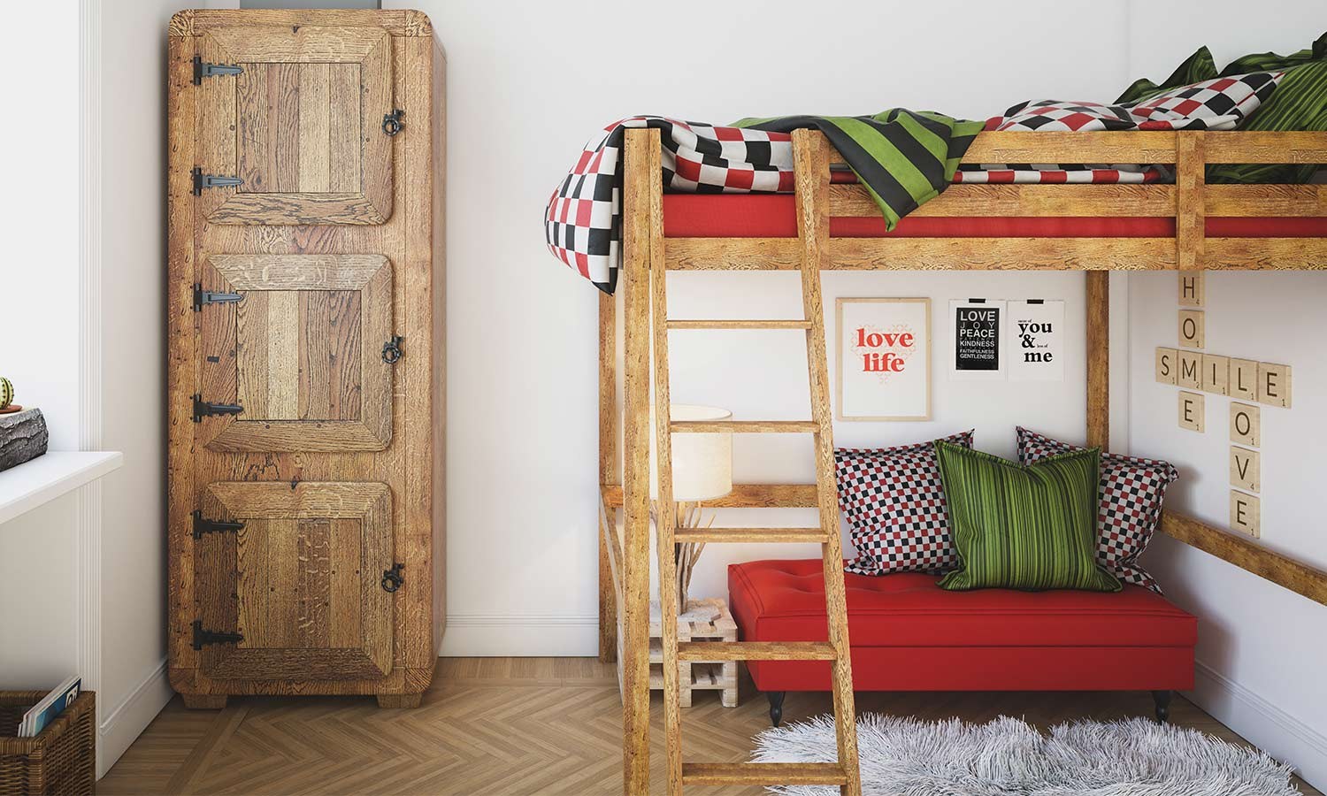 A bunk bed with a loft for a futon underneath