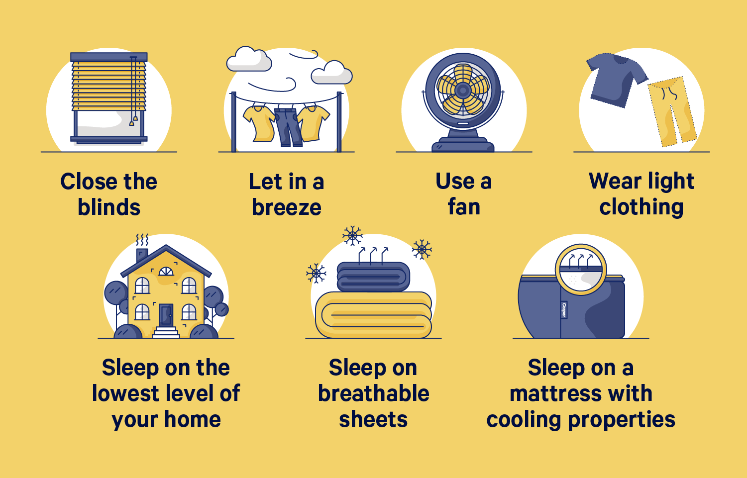 A chart showing tips to keep your room cool in Summer. Chart items below.