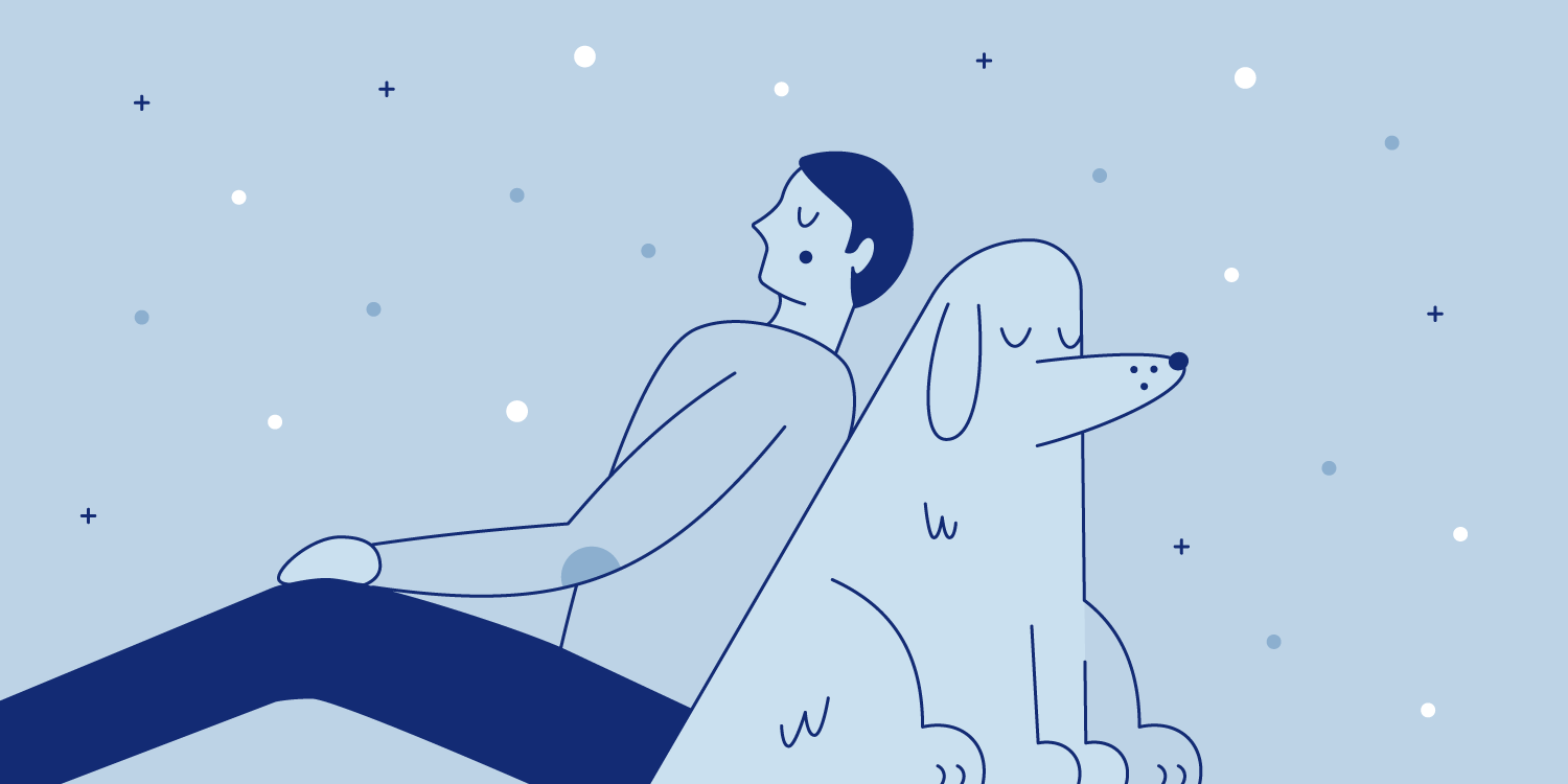 Man rests and leans against his furry dog companion. Illustration.