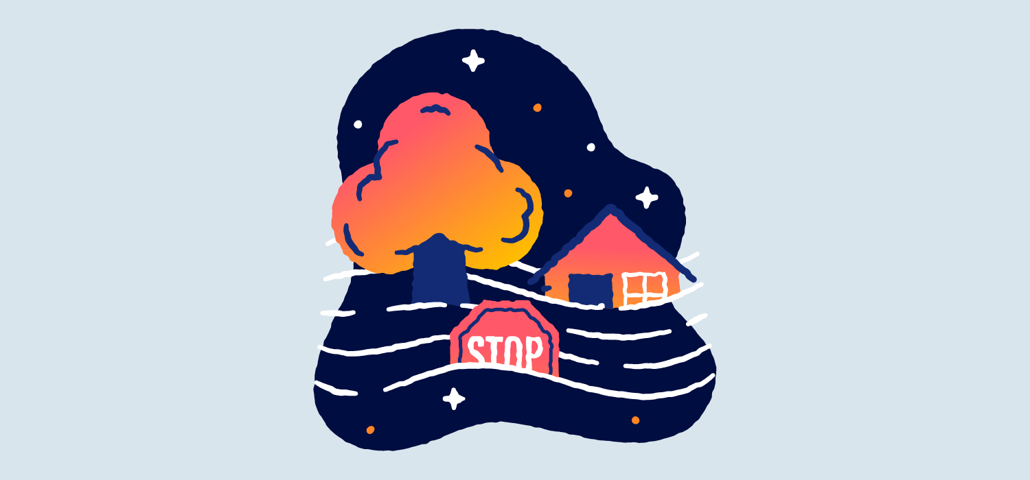 A house, tree, and stopsign all float in fast water. Illustration.