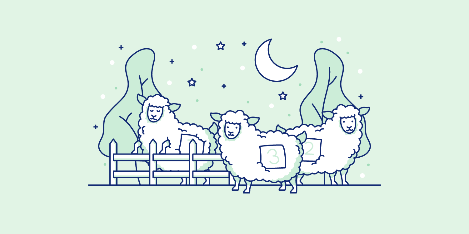 Sheep with numbers on them under a starry sky. Illustration.