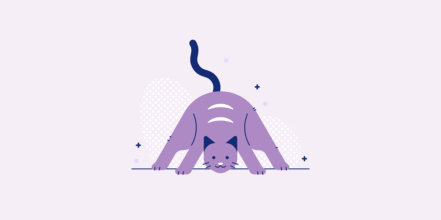 A cartoon cat making the Prasarita Padottanasana yoga pose.
