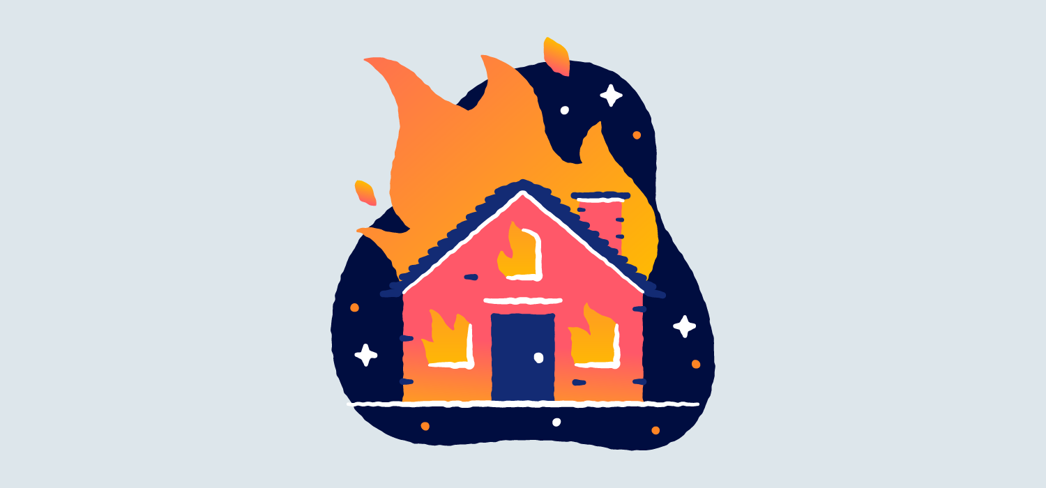 A house surrounded by large flames. Illustration.