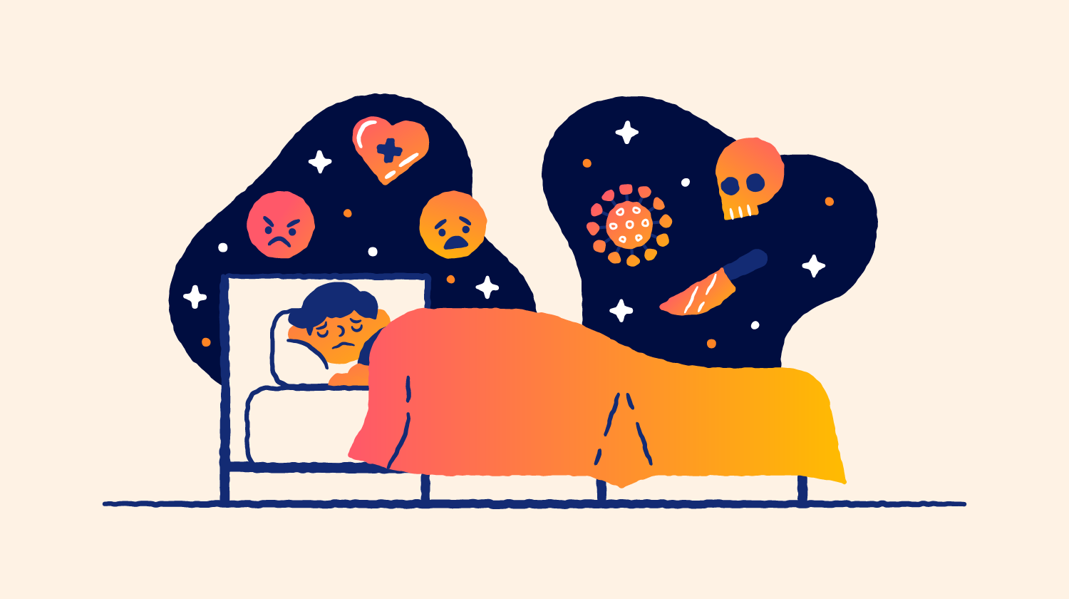 A person sleeps while images of nightmares float around his head. Illustration.