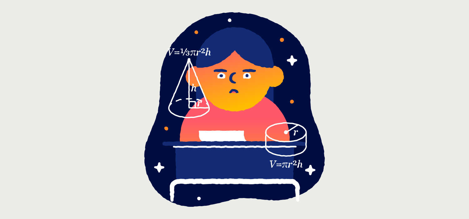 A woman sits at a desk and stares absent-mindedly while charts float around her face. Illustration