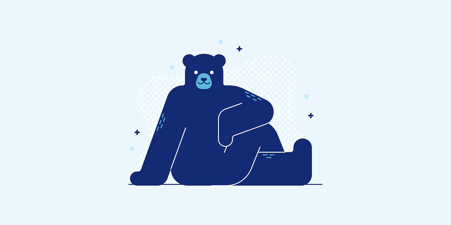 A cartoon bear sitting in the Ardha Matsyendrasana yoga pose.