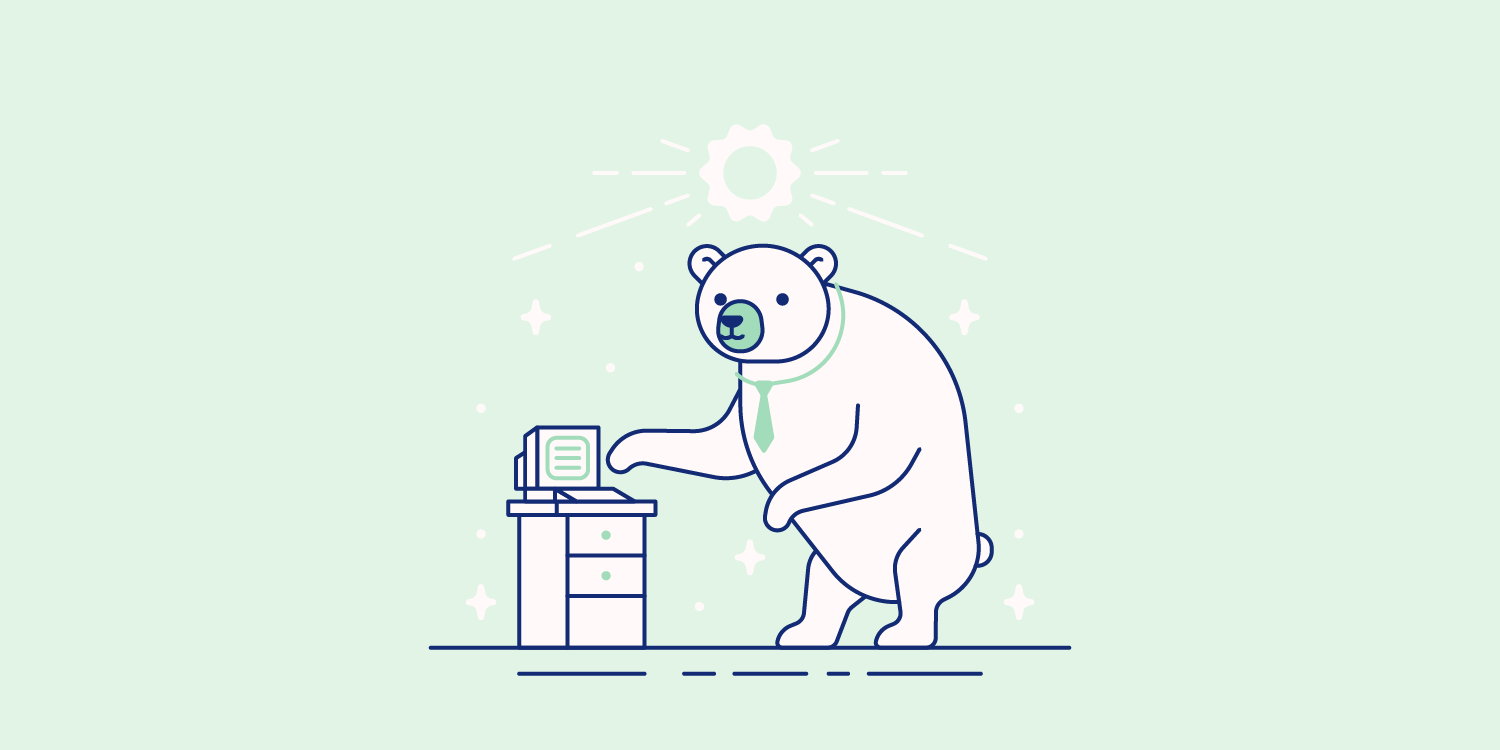 A bear wears a necktie and types on a small computer. Illustration.