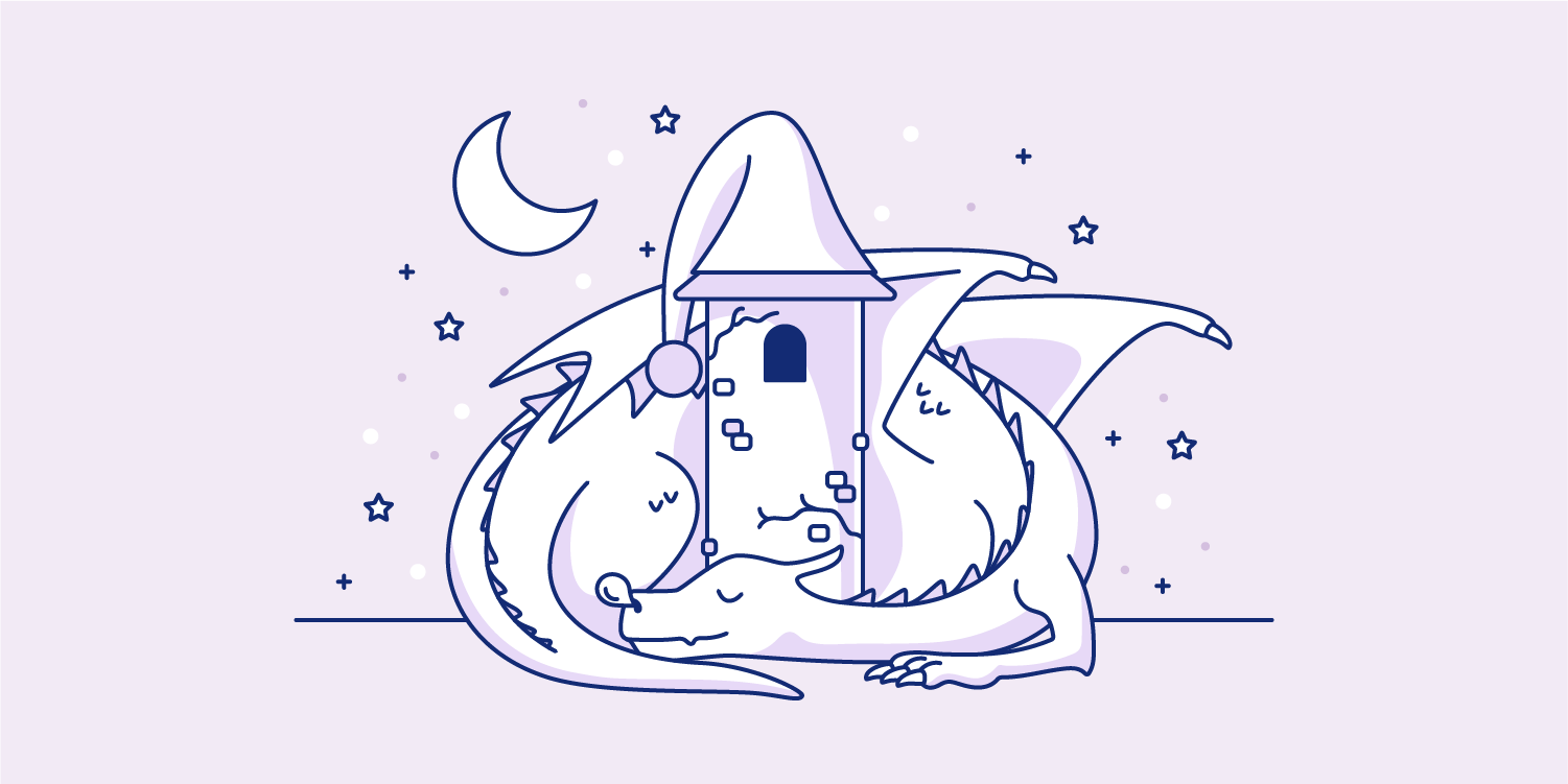 Dragon curled up to sleep. Illustration