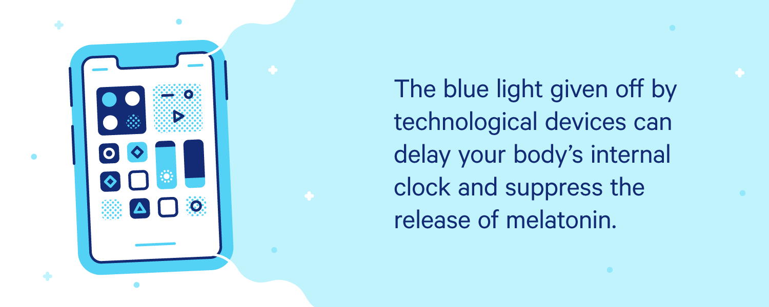 A phone emitting blue light. Illustration.