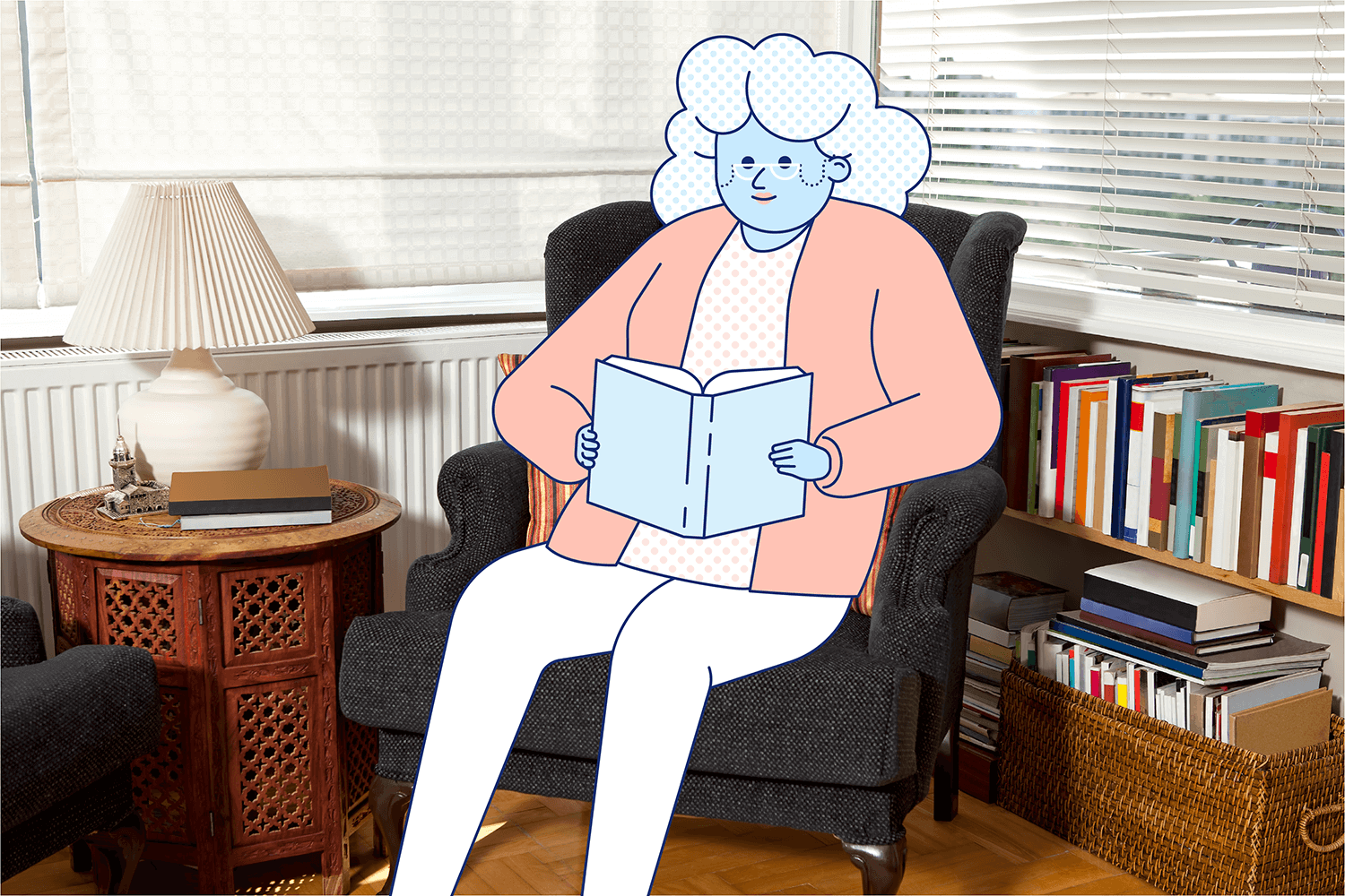 A woman happily reads a book in a chair during daylight hours. Illustration.