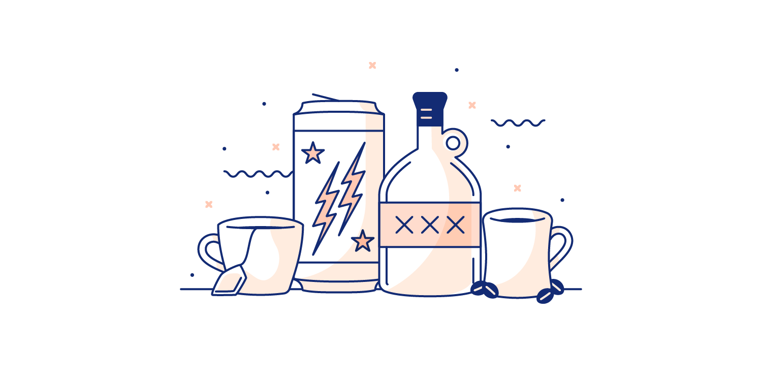 Energy drinks, coffee, and alcohol lines up on a table. Illustration