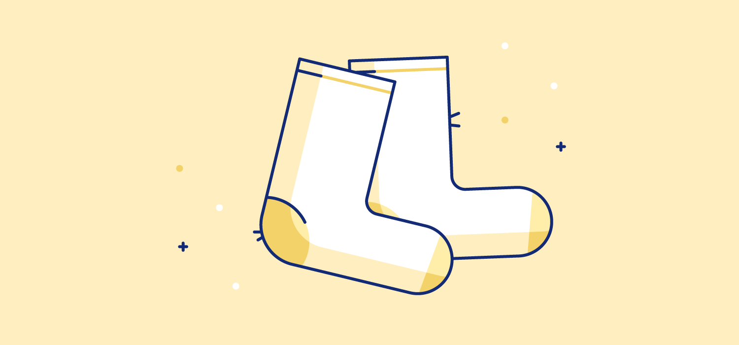 A pair of socks. Illustration. Studies show that wearing warm socks can increase sleep efficiency by 7.6% and lower awakenings by 7.5 times.