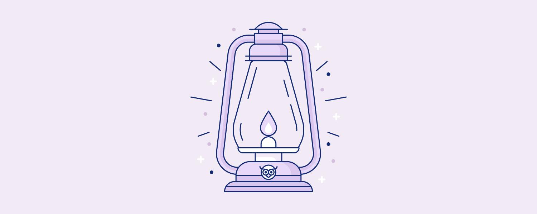 A glowing lantern. Illustration