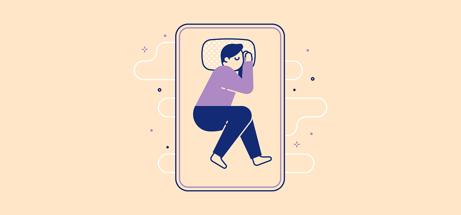 A person sleeps slightly curled with their hands together on the pillow. Illustration.