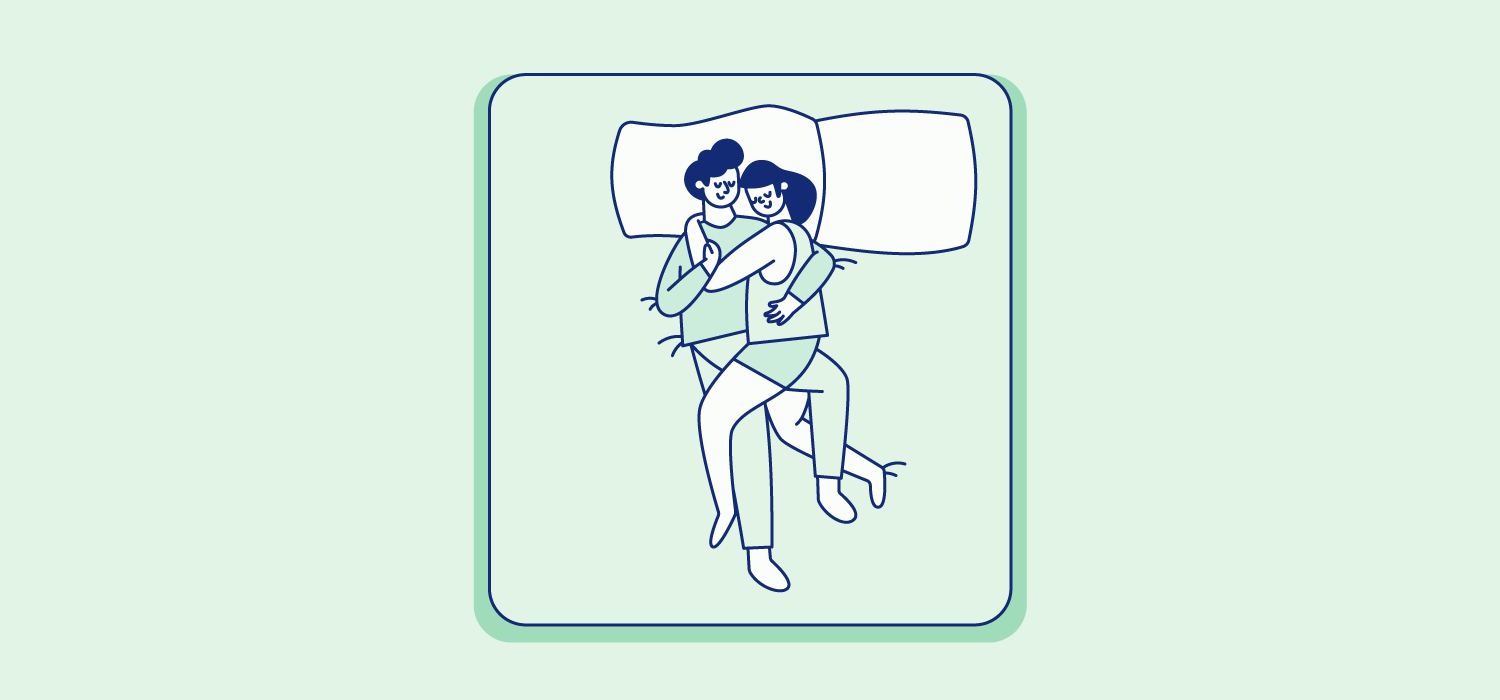 A couple sleeps with arms and legs intertwinded as they share a pillow. Illustration.