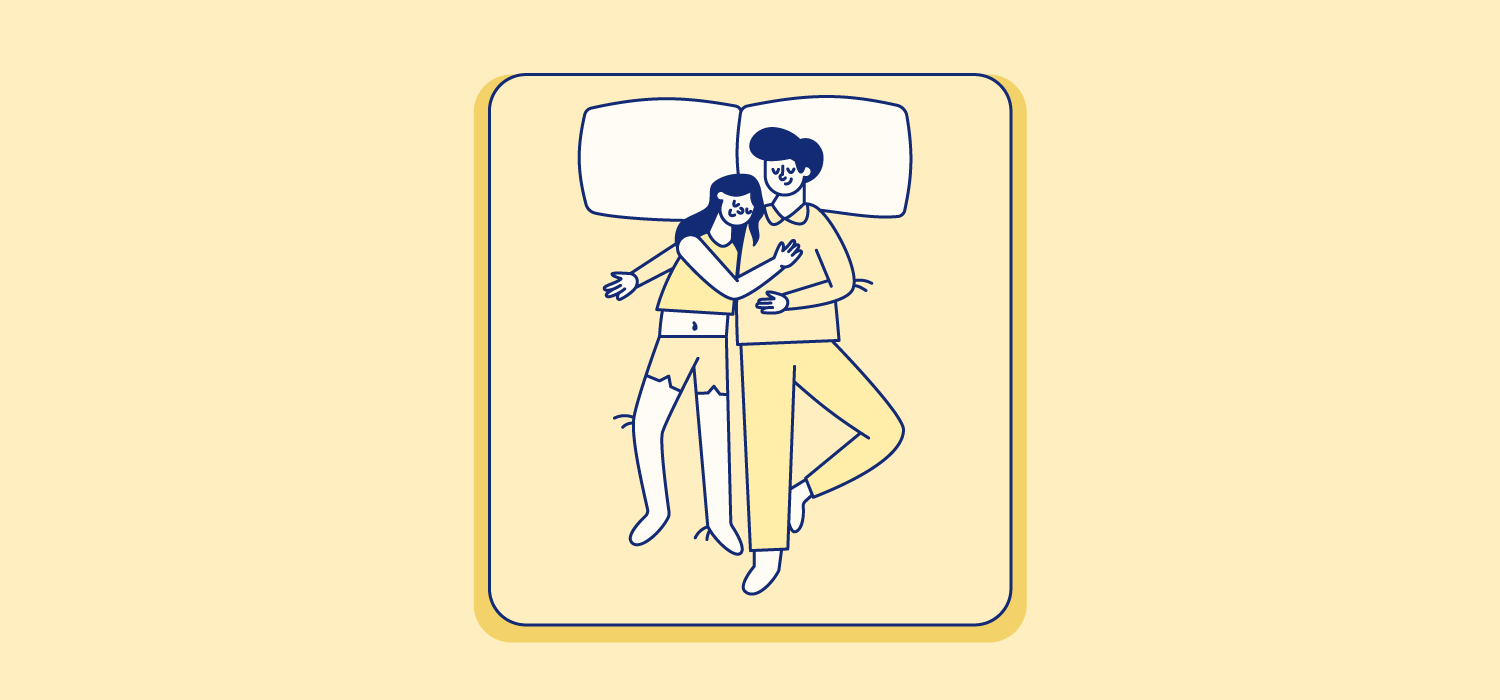 A woman rests her head on her partner's shoulder. Illustration.