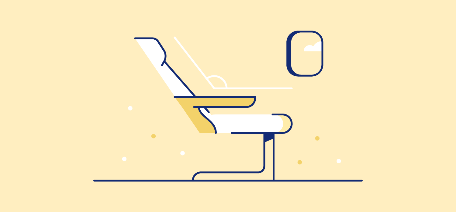 A reclined airplane seat. Illustration. Reclining at 135 degrees is considered the safest, most comfortable angle for sleeping on a plane