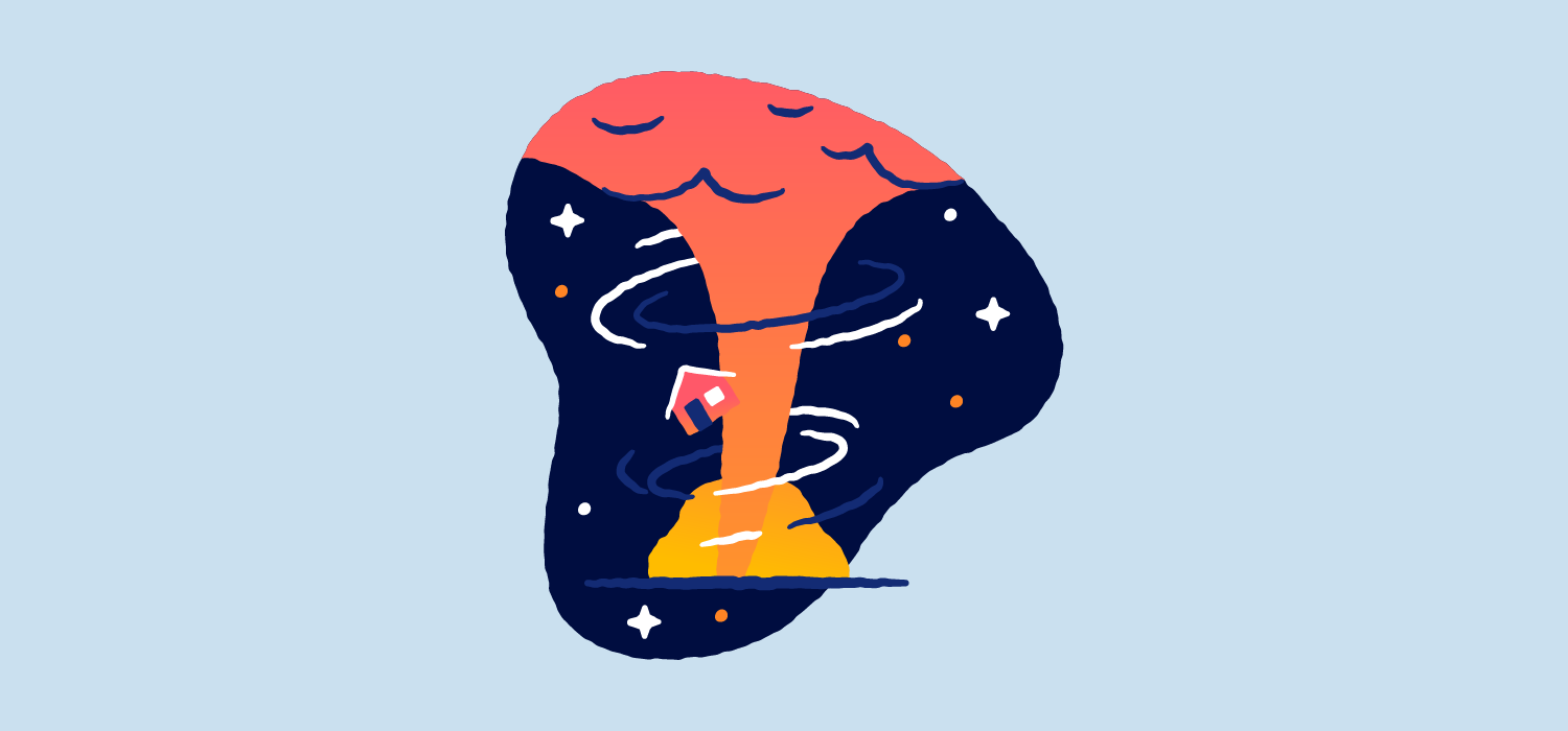 A tornado tosses around a small house. Illustration.