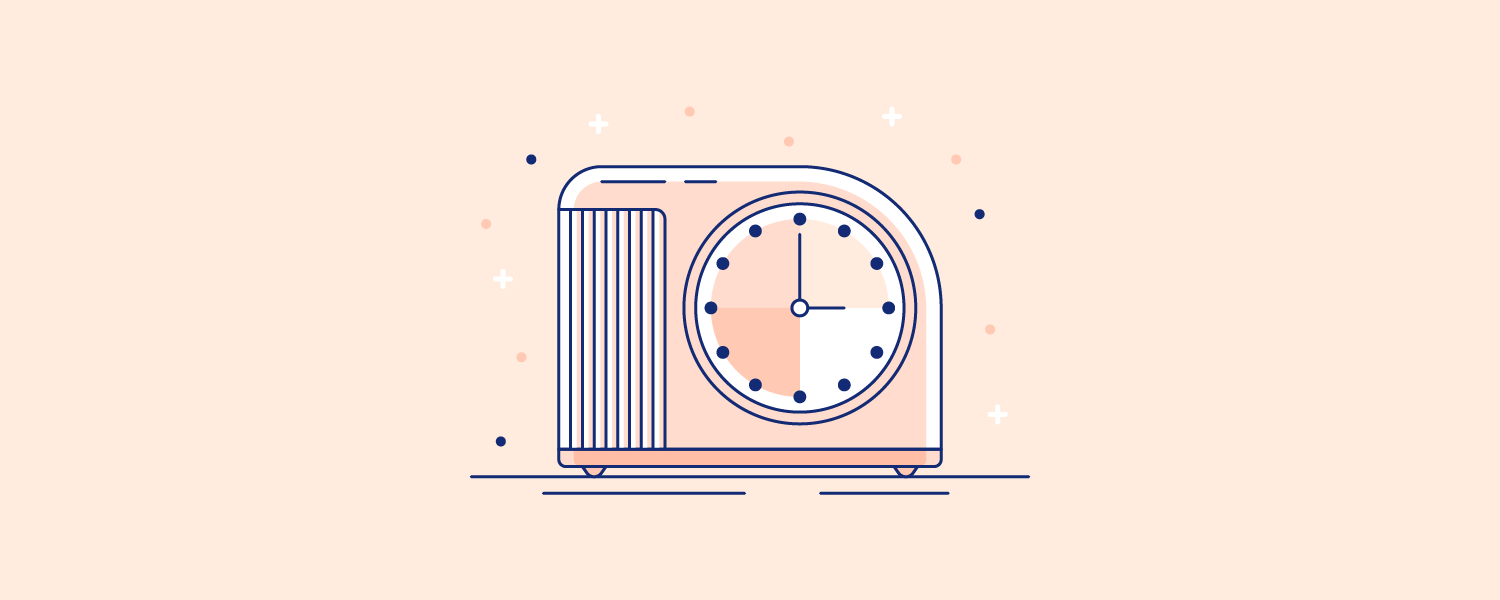 An old-fashioned alarm clock. Illustration