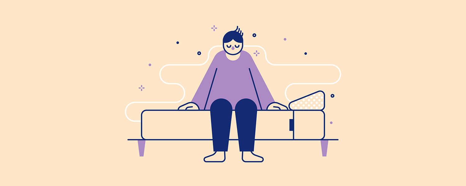 A woman sits on the edge of her Casper mattress. Illustration.