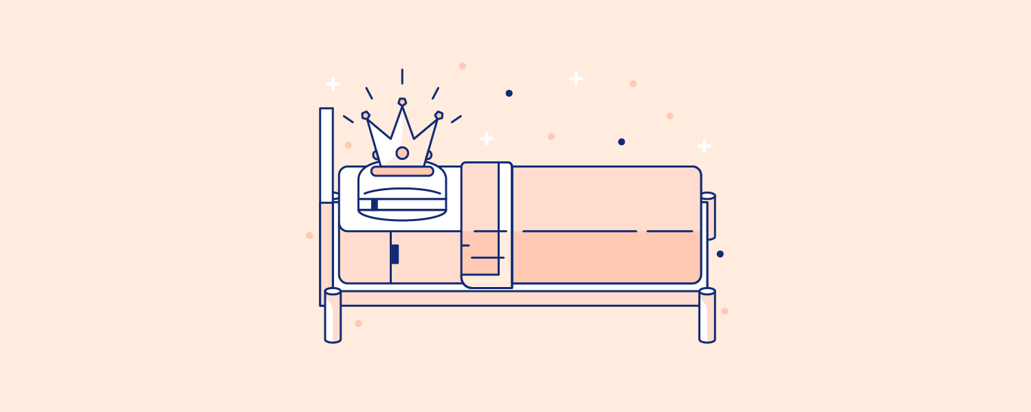 A crown resting on a Casper brand mattress and pillow. Illustration