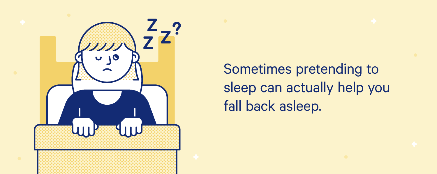 A person sits in bed with one eye open and one eye closed. Illustration