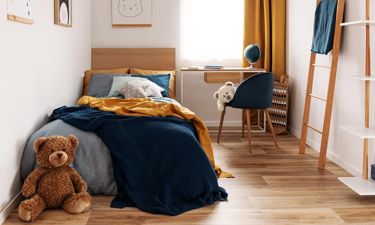 A single bed in a child's room