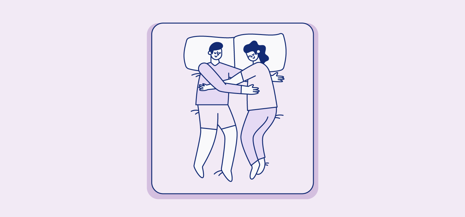Partners sleep on separate pillows and a small space between them with their arms crading each other lightly. Illustration.