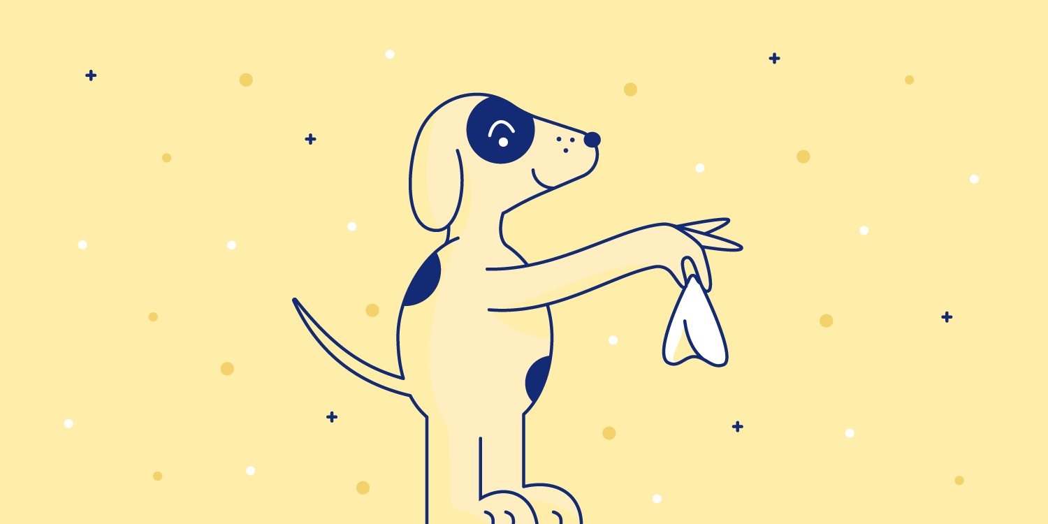Spotted dog holds up a tissue. Illustration.