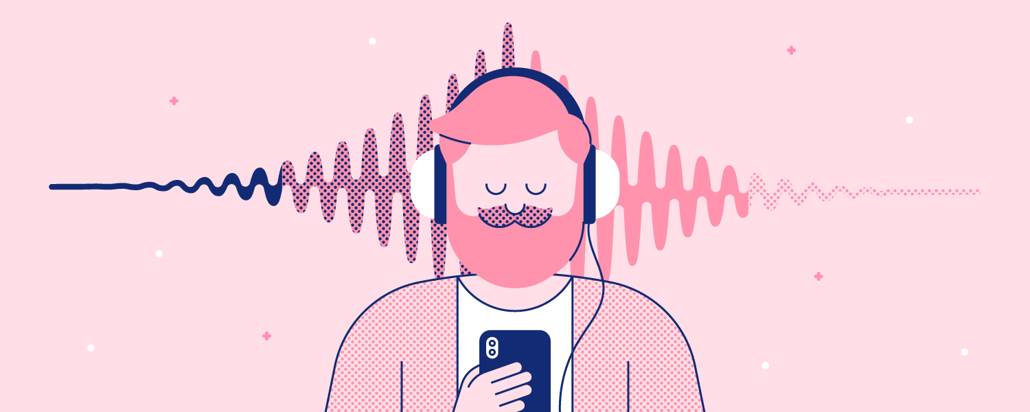 A man listens to music with his eyes closed. Illustration.