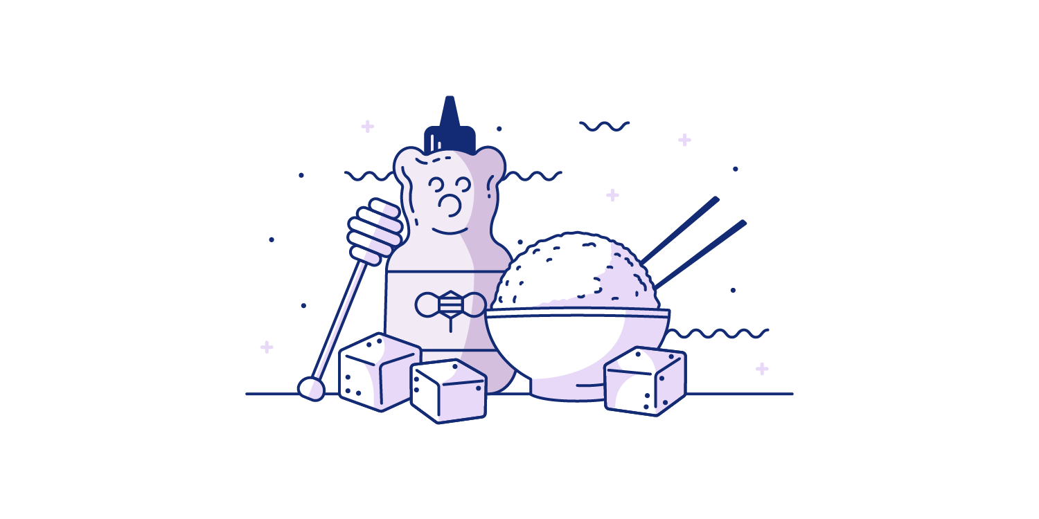 Honey, tofu, and a bowl of rice spread out on a table. Illustration