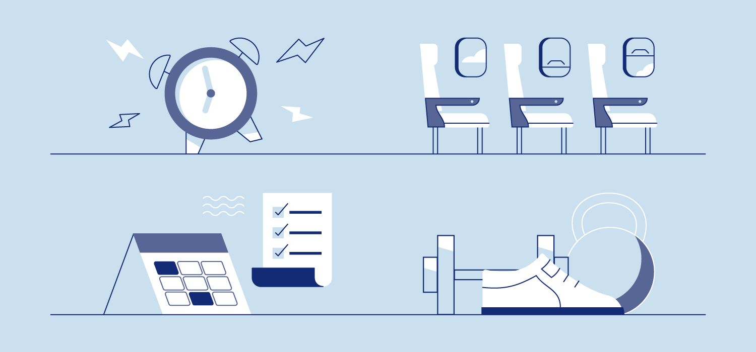 An alarm clock, checklists, and airplane seats. Illustration.