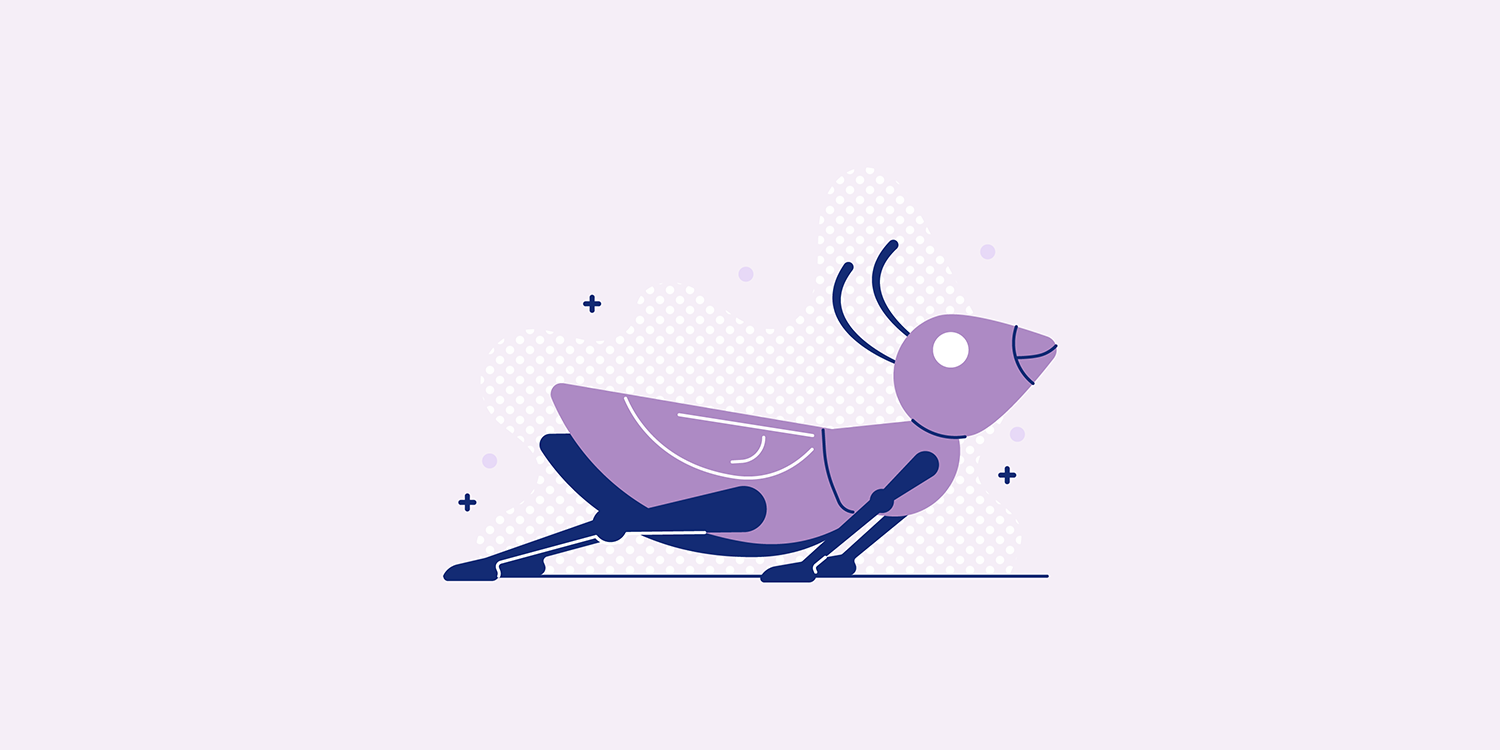 A cartoon locust in the Salabhasana yoga pose.