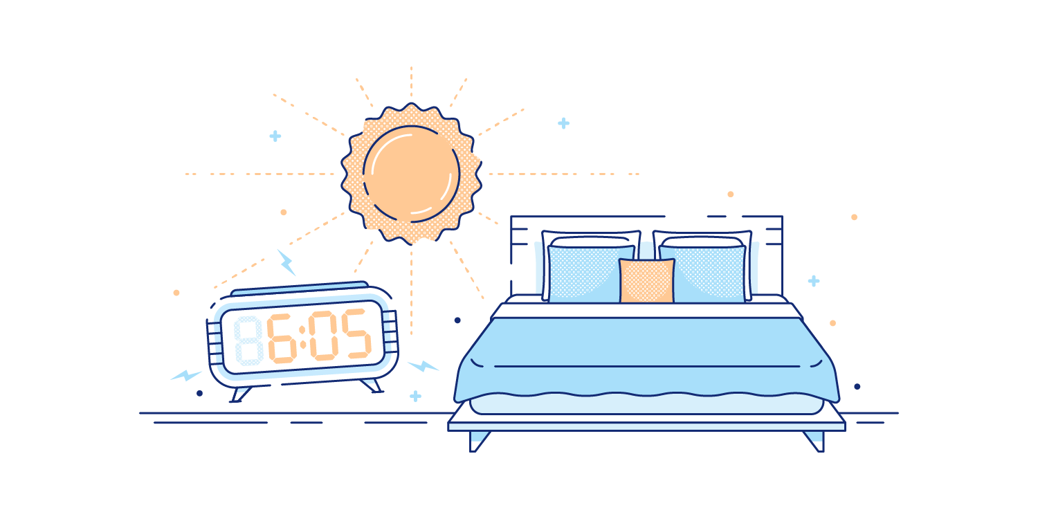 Bright sun shining into a bedroom early in the morning. Illustration