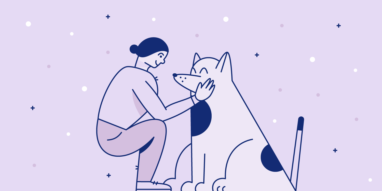Woman pets the face of a large dog. Illustration.