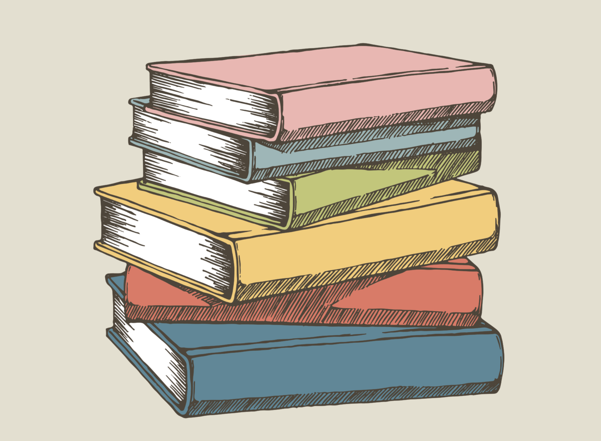 A pile of books stacked on top of one another. Illustration