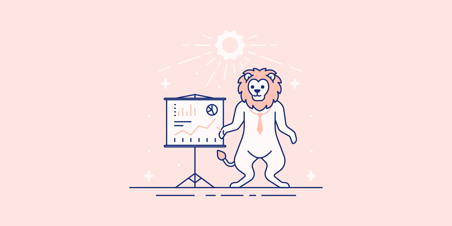 A lion wearing a necktie points to data laid out on a chart. Illustration.