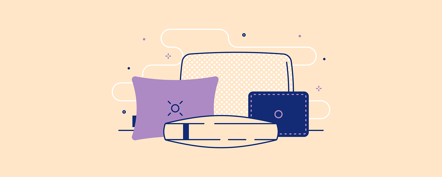 An assortment of Casper pillows. Illustration.