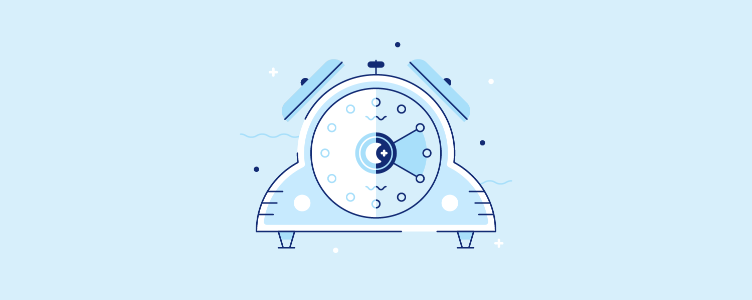 A blue alarm clock. Illustration