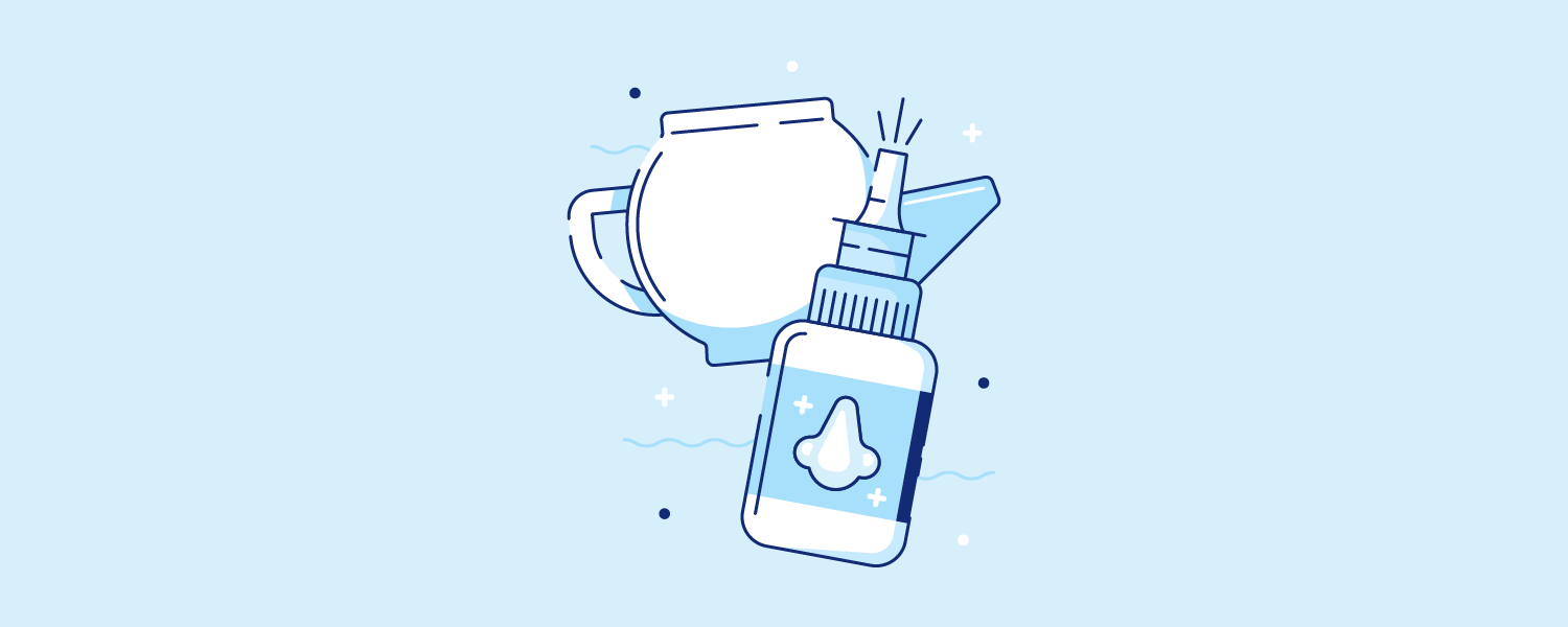 Nasal spray next to a netty pot. Illustration.