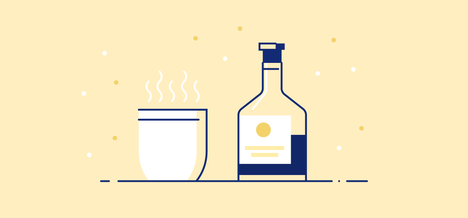A warm cup of coffee next to a bottle of dark liquor. Illustration. Avoid drinking caffeine as it can stay in your body for up to 14 hours and prevent you from falling asleep. Alcohol can also prevent deep sleep.
