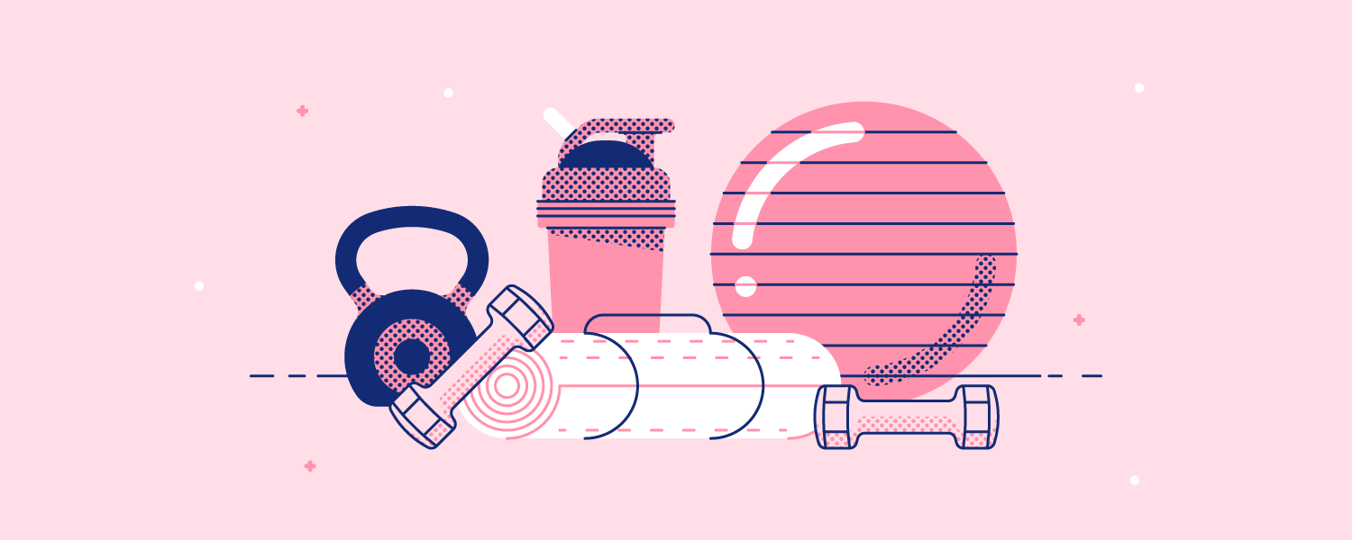 Assorted workout gear piled together on a mat. Illustration.