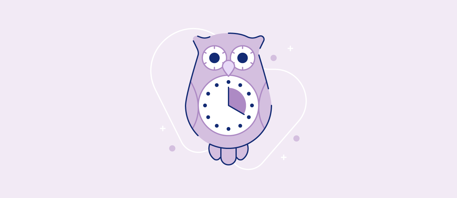 A clock in the shape of a wide-eyed owl. Illustration