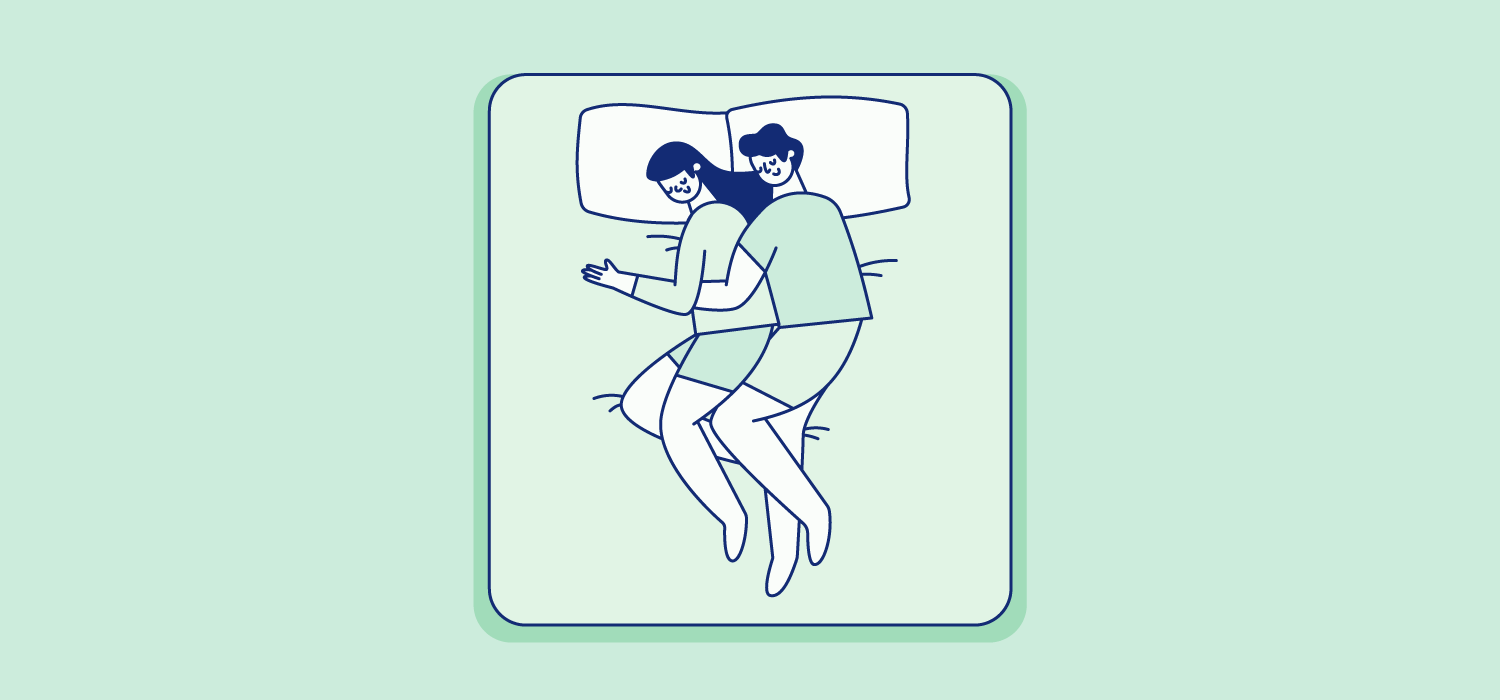 A woman sleeps with her back pressed to a man's stomach. Illustration.